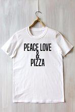 990e9c292 Paz Amor Pizza Top Engraçado Cómico Amante Do Alimento Slogan Do Tumblr  T-shirt moletom fazer tumblr camiseta moletom fazer tumb.
