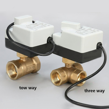 AC220V DN15(G 1/2) to DN 50(G 2) 2 way 3 wires brass motorized ball valve/electric actuator motor with manual switch function