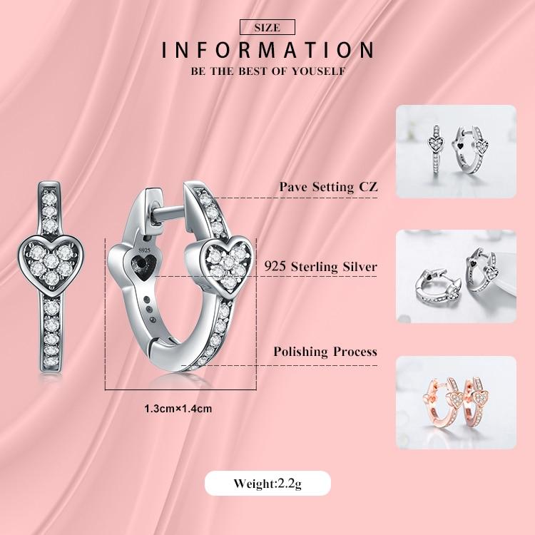Modian Charm Fashion 100% Real 925 Sterling Silver Hearts Dazzling CZ Hoop Earrings For Women Crystal Sterling Silver Jewelry