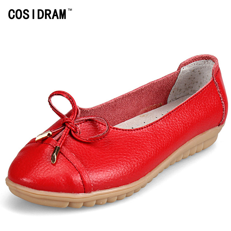 COSIDRAM New 2017 Mother Flat Shoes Bowtie Casual Women Loafers Split Leather Soft Bottom Moccasins Women Flats Ladies BSN-629 starpad for zongshen 200gy 2 shell zongshen 200gy 2 side cover nakedness desert flying fox side cover housing