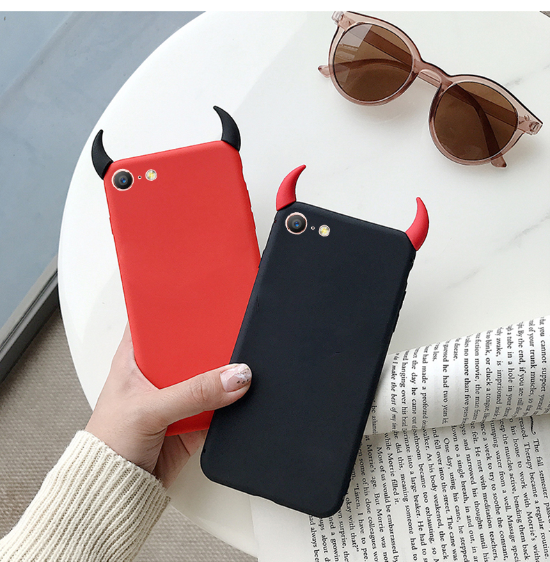 Soft Case Devil Horns Demon Angle Cover for Samsung GALAXY A10 M10 A30 A40 A50 A70 A5 A6 Plus A7 A8S A9 Pro A3 A5 A7 2018 2019 image