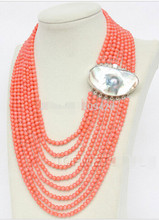 811 Free Shipping aaa00637+++Gorgeous! 8rows round pink coral necklace Mabe pearl(China)