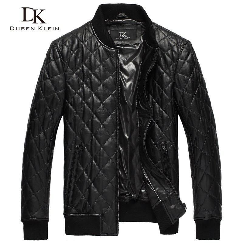 Dusen Klein Mens leather jackets Quilted cotton Genuine sheepskin Causal/Slim brand-clothing DK069