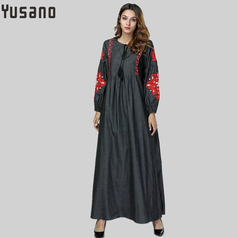 07159d49d52 Женские платье макси вышивка осень зима Абая теплый халат платья свободные  стиль мусульманский Ближний Восток арабский