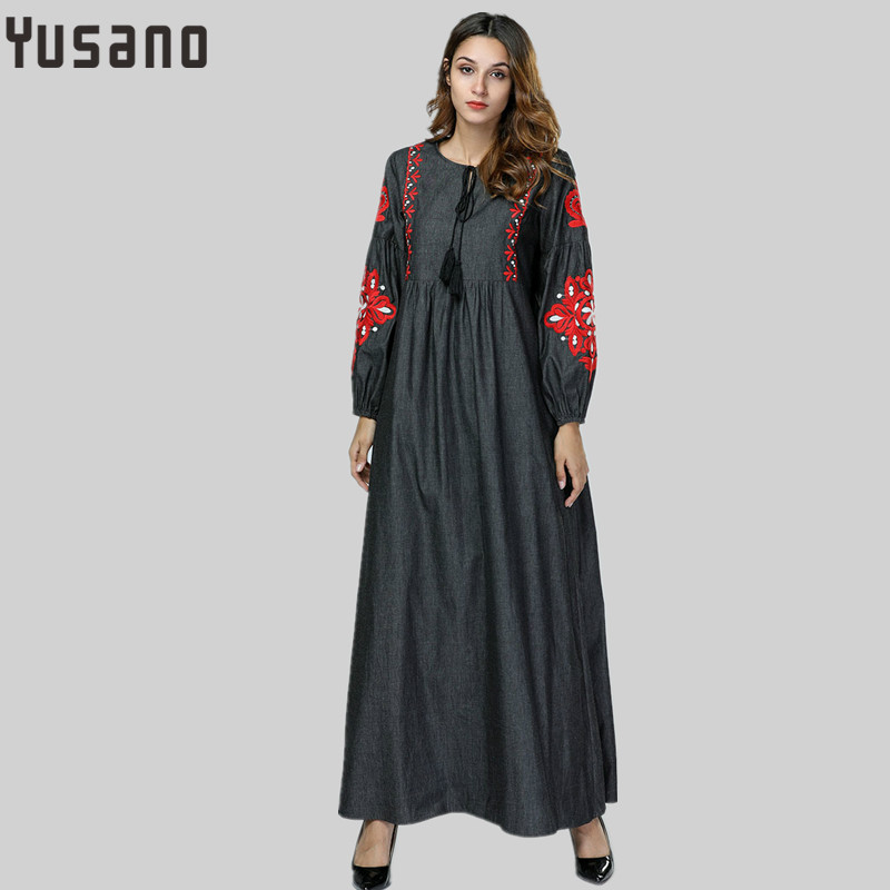 Dresses Womail Muslim Women Long Sleeve Kaftan Maxi Dress Abaya Lace Islamic Dubai Brand New High Quality Arab Robe W30408