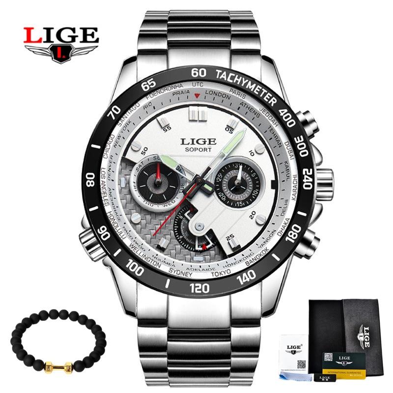 Dropwow LIGE Fashion Chronograph Sport Mens Watches Top Brand Luxury ... 7bce7a3e241f