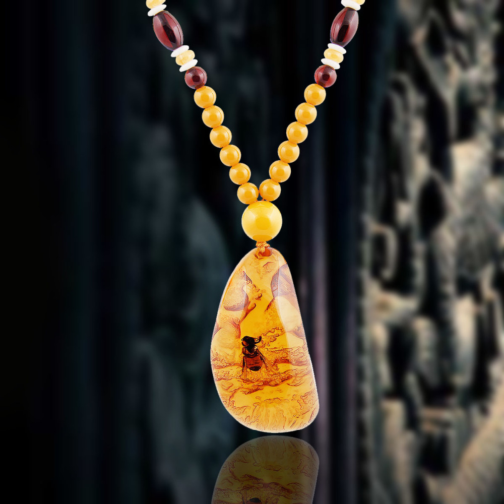 New fashion design insects in lucite resin amber men yellow necklace new fashion design insects in lucite resin amber men yellow necklace amber pendant trendy hot sale women christmas gift in pendants from jewelry aloadofball Images