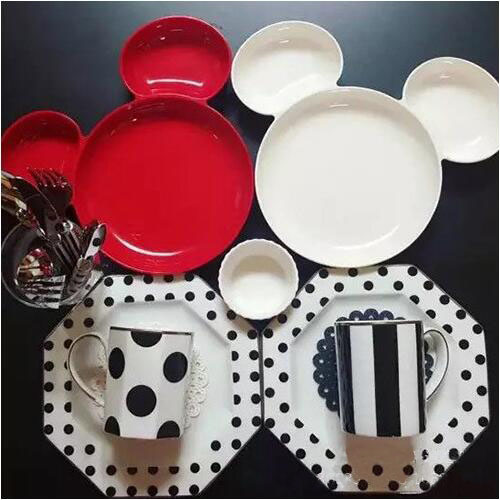 Hot sale High quality 1 pcs lovely Mickey Mouse plate kids tableware Melamine plate Cakes snacks : mickey mouse dinnerware set - pezcame.com