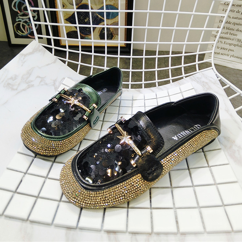 Dames Loafers Ronde Neus Luxe Strass Dames Schoenen Mode Bling Platte - Damesschoenen - Foto 2