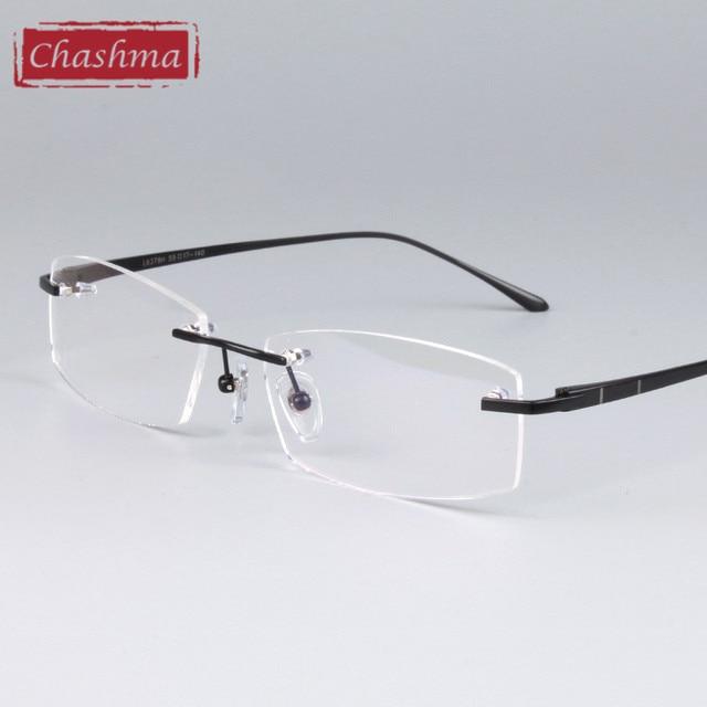 Homens e Mulheres Designer De Óculos Sem Aro de Titânio Puro de Luz Chashma  Qualidade Quadro a606c2d271