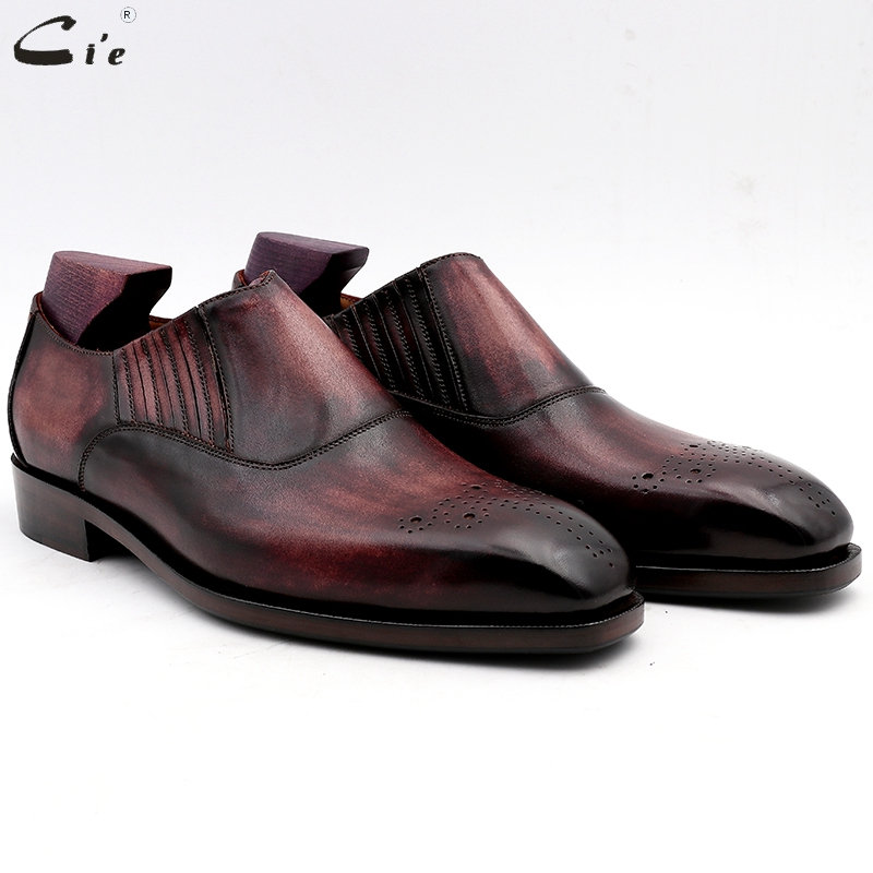 cie men dress shoes leather patina purple men office shoe genuine calf leather outsole men s