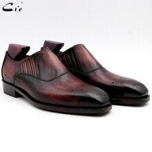 Cie/Мужские модельные туфли; кожаная мужская обувь из лакированной кожи; фиолетовая Мужская офисная обувь; натуральная подошва из телячьей кожи; мужские слипоны; кожаная обувь ручной работы; № 9