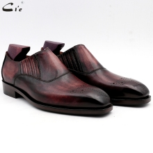 cie men dress shoes leather patina purple office shoe genuine calf outsole mens slip-ons handmade No.9