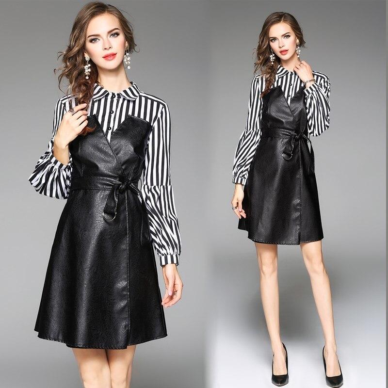 Женское платье рубашка из искусственной кожи с длинными рукавами и рукавами фонариками, Европейская мода, платья в полоску с принтом, плать