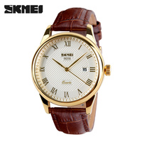 Famous Brand SKMEI Fashion Leather Strap Quartz Men Casual Watch Calendar Date Work For Men Dress