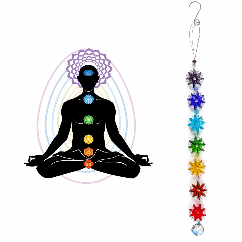 H&D Chakra Charms Crystal Suncatcher Dream Catcher 20mm Crystals Ball Prism Rainbow Maker Chakra Cascade Car Decor