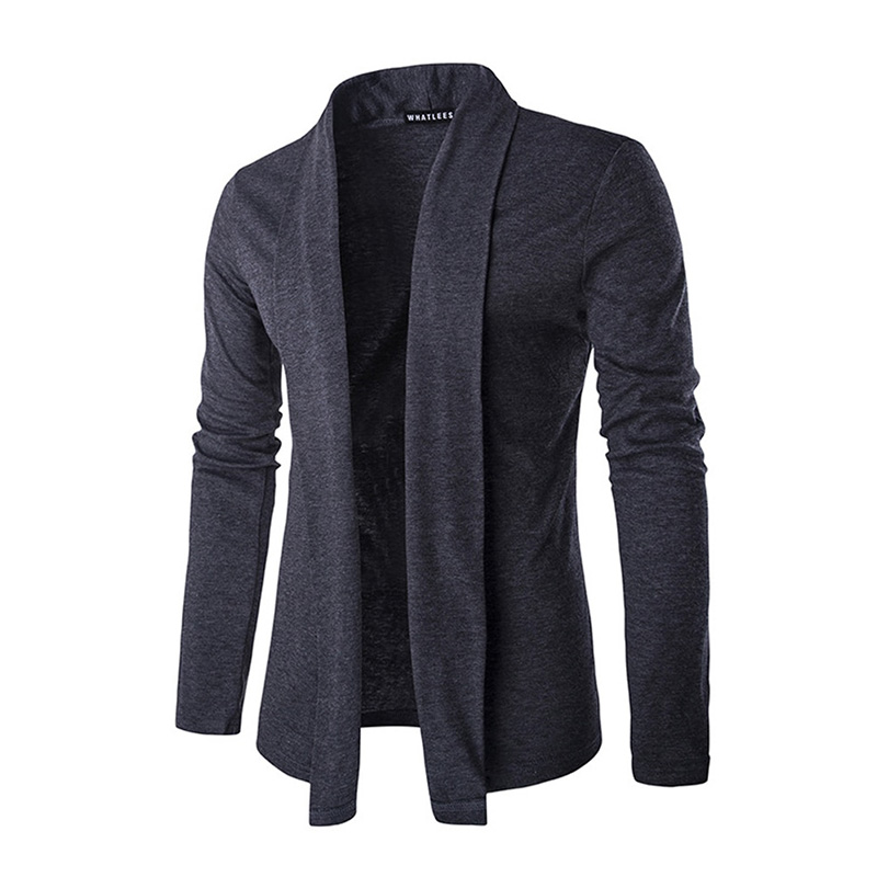 Men's Cardigan Fashion Solid Color Long Sleeve Casual Warm Chic Knitwear(China)