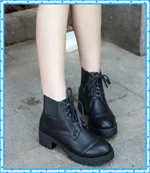 ca16211718 flat boots woman martin motorcycle booties winter autumn chunky heels  ladies shoes women ankle boots female shoes lace up C514