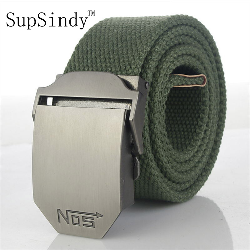 SupSindy men&women Canvas   belt   luxury Alloy buckle military   belt   Army tactical   belts   for Male jeans High quality men strap Black