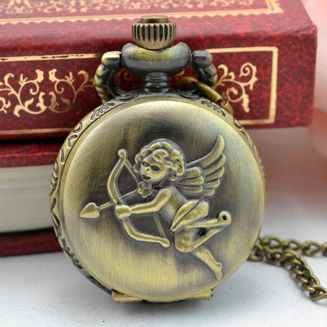 #5005Vintage Steampunk Retro Bronze Design Pocket Watch Quartz Pendant Necklace
