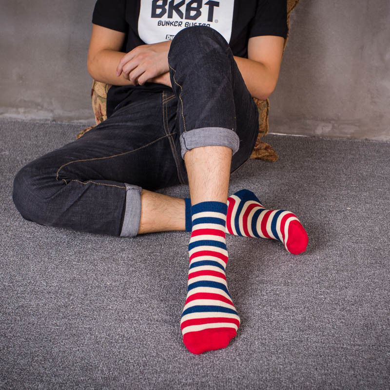 PEONFLY Japan Jacquard Weave Width Stripe Freedom Line Full Cotton Male happy funny men novelty Socks colorful