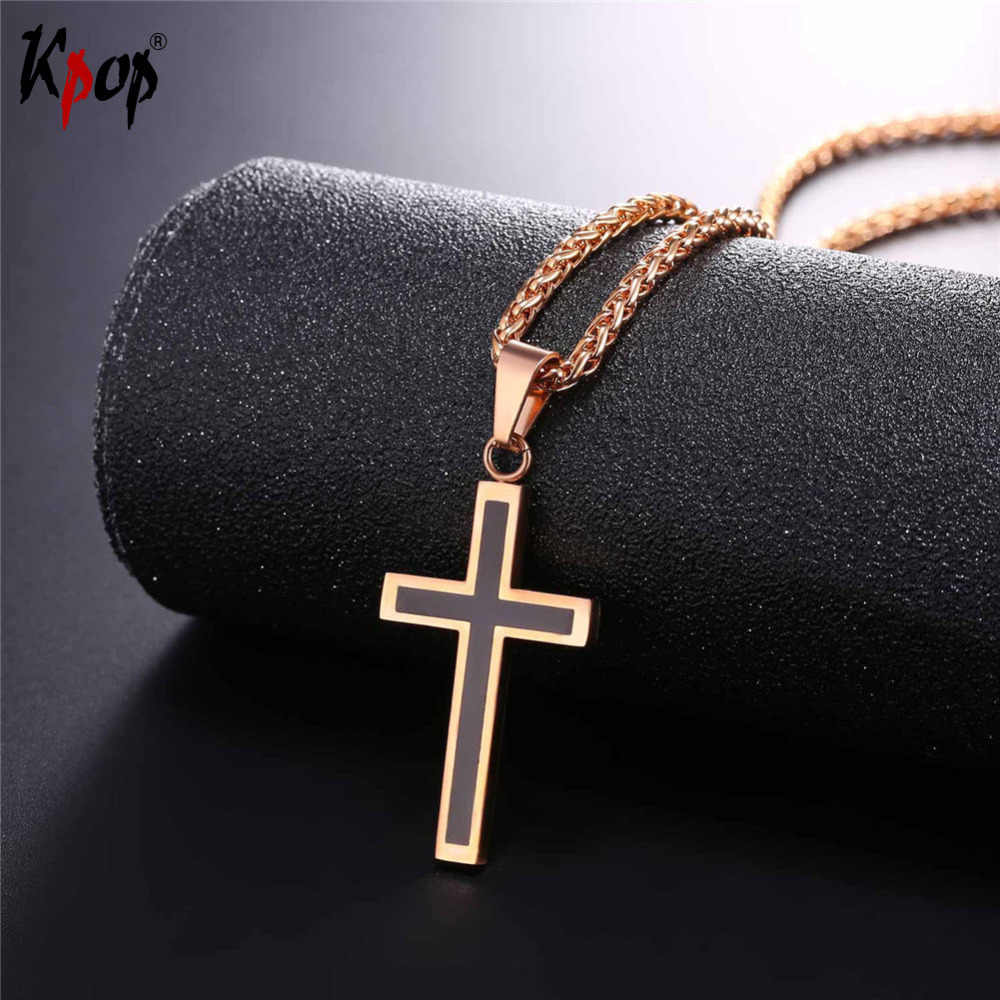 Kpop Stainless Steel Cross Pendants Gold Colors Enamel Classic Design Religious Fashion Jewelry Necklaces For Women/Men P952