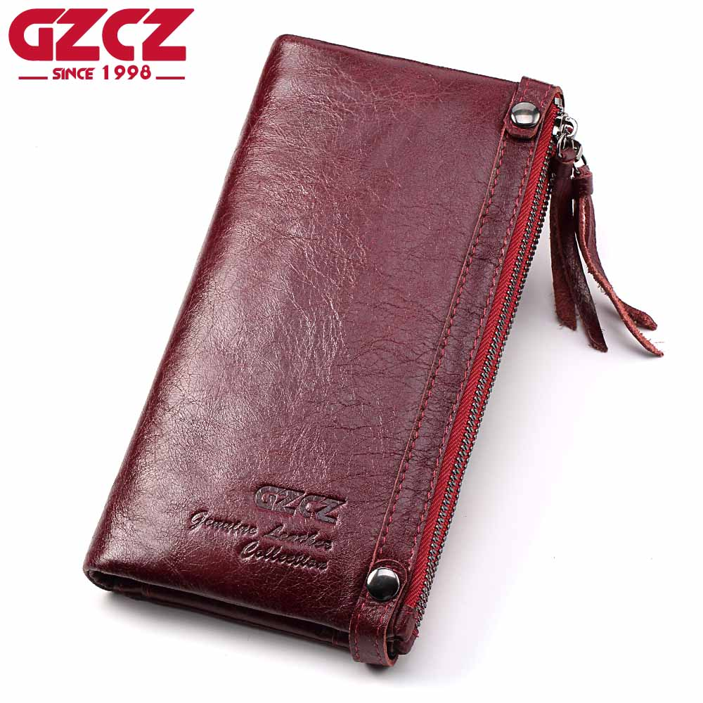GZCZ Genuine Leather Women Long Wallet Female zipper clamp for money Clutch Coin Purse Card Holder Portomonee Small Vallet contact s genuine leather women wallet dollar price phone pocket card holder female zipper clutch coin purse ladies wristlet