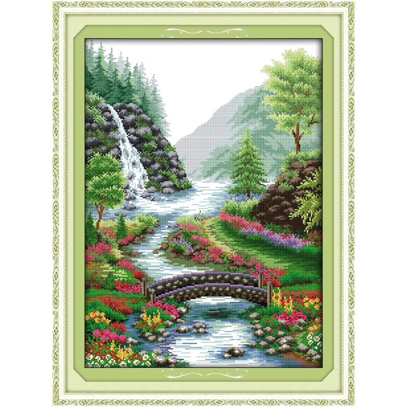 Everlasting love Bridge River Chinese cross stitch kits Ecological cotton stamped printed 11 14CT DIY New Christmas decorations