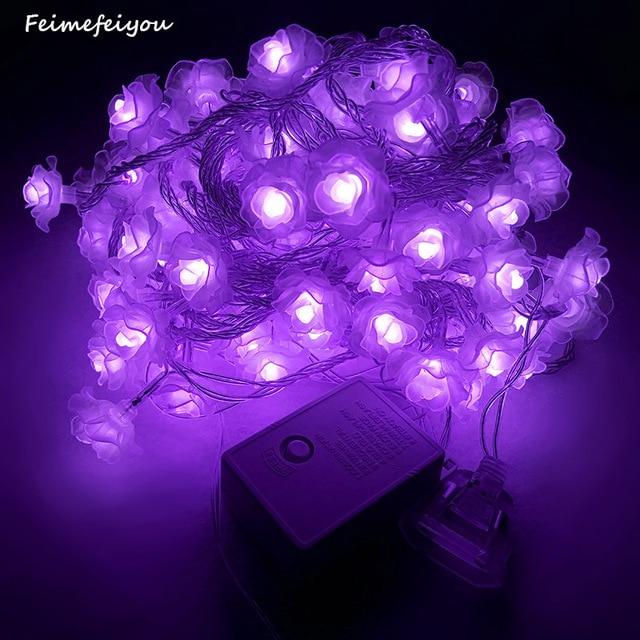 Feimefeiyou100 led string lights Colorful Rose flower wedding ...