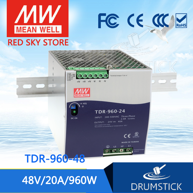 100% Original MEAN WELL TDR-960-48 48V 20A meanwell TDR-960 48V 960W Three Phase Industrial DIN RAIL with PFC Function saimi skdh145 12 145a 1200v brand new original three phase controlled rectifier bridge module