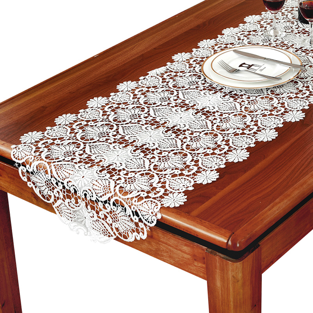 Embroidered Lace Table Runner TV Bench Stand End Table Cover Decoration 50cm x 50 70 90 120 150 180 210 250 280cm White