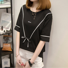 2019 Summer New Short Sleeved T-Shirts Womens Fashion Butterfly Pure Color O-Neck Meditation Commuter