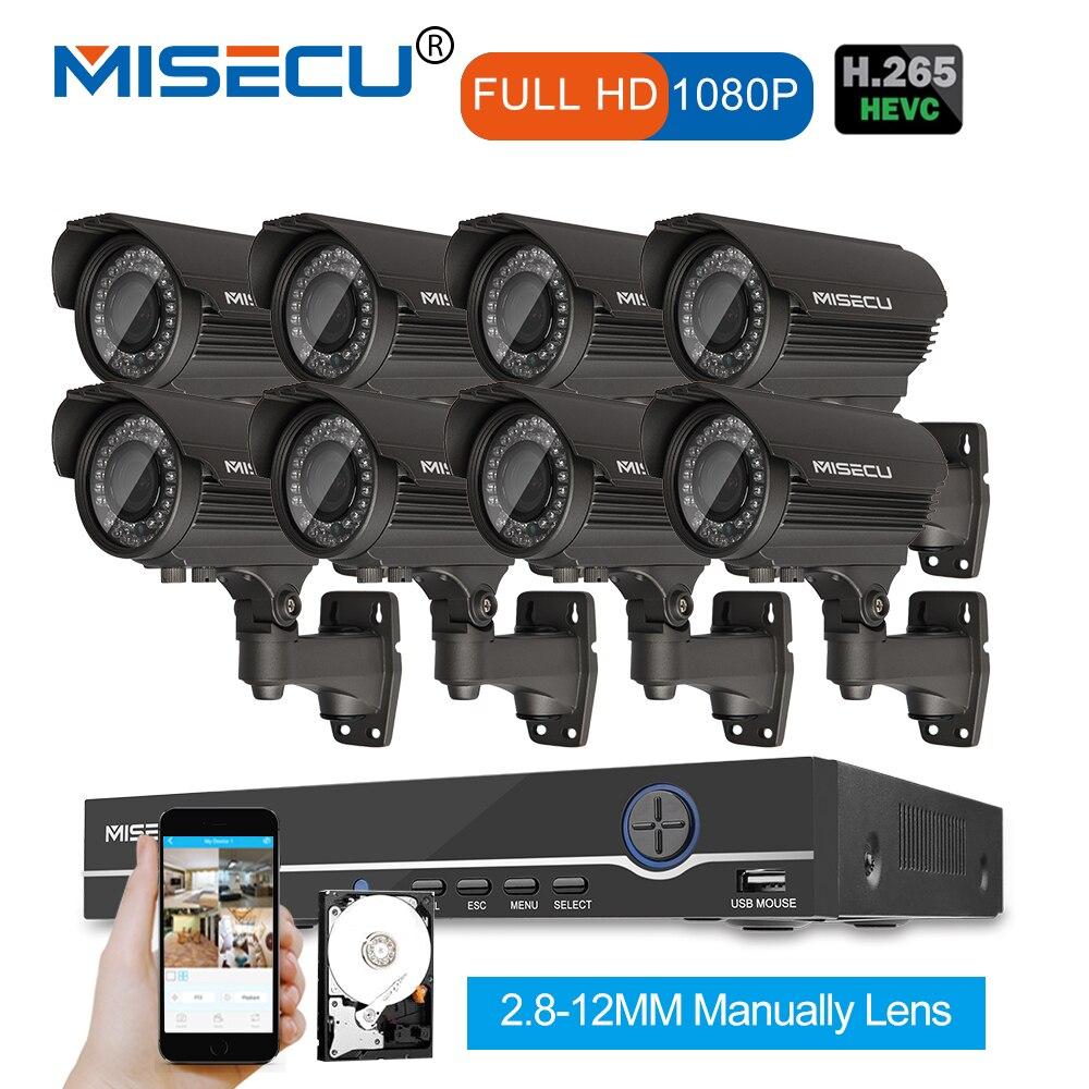 1080 p 8CH NVR KIT real POE 48 V 2.0MP 8 piezas IR POE IP 36 piezas IR 2,8- 12 Zoom Cámara impermeable P2P Onvif vigilancia CCTV kit