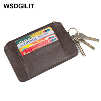Ultra Thin Credit Card Holder with Key Holder Mini Small Leather Purse Minimalist Wallet Case Fashion Cardholder