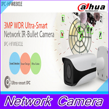 2014 new arrival DAHUA 3MP WDR IP IR Bullet Camera Waterproof IP66 Outdoor IP Camera with POE IPC-HFW8301E English DHL shipping outdoor waterproof white metal case 1080p bullet poe ip camera with ir led for day