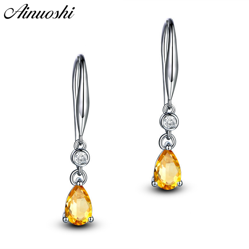 AINUOSHI Natural Citrine Teardrop Drop Earring 2 5ct Pear Cut Gemstone Engagement Party Women Jewelry 925