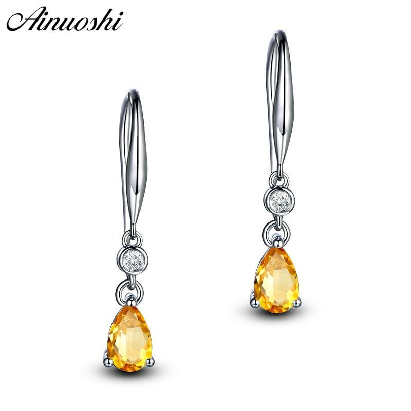 AINUOSHI Natural Citrine Teardrop Drop Earring 2.5ct Pear Cut Gemstone Engagement Party Women Jewelry 925 Silver Hook Earring teardrop decorated hook drop earrings