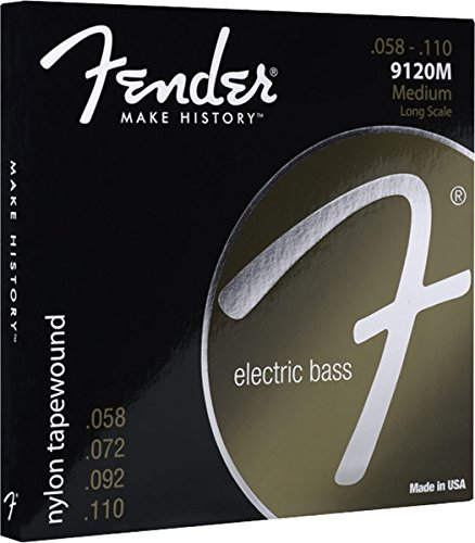 Fender 9120 Nylon Tapewound Bass Guitar Strings, 58-110 rotosound rs88ld black nylon flatwound bass strings