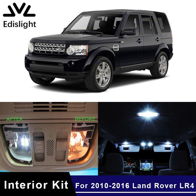 Автомобильные лампы Edislight, 14 шт., светло-синие светодиодные лампы canbus для салона автомобиля, комплект для 2010-2016 Land Rover LR4, карта, купольная Двер...
