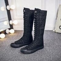 2019 New high waist lace canvas canvas shoes front zipper lace fashion women's canvas boots women's knee high canvas shoes