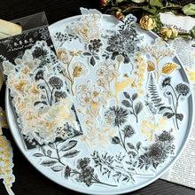 Autocollants décoratifs rétro, fleurs et plantes, dorés, 60 pièces/paquet, accessoires de papeterie, pour agende, journal et scrapbooking,