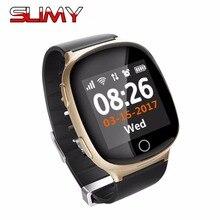 Viscoso D100 Idosos Relógio Inteligente Monitor Cardíaco Com Queda-down Função de Alarme Anti-perdido Gps Lbs Wi-fi para IOS Smartphone Android