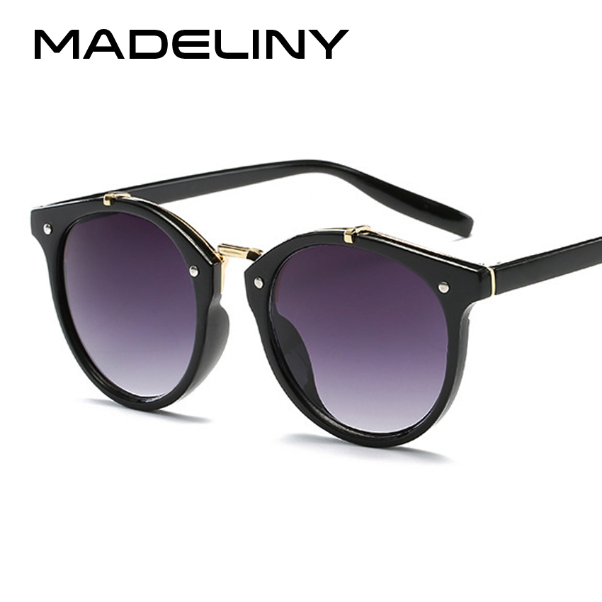 MADELINY New Fashion Round Sunglasses Women Brand Designer Vintage Gradient Sun Glasses Female Retro Mirror Glasses Oculos MA294