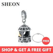 SHEON 925 sterling silver birdcage charms crown heart lock beads fit authentic pandora bracelets diy fine jewelry accessories floating heart locket beads fit european charms bracelets real 925 sterling silver jewelry women diy fine jewelry wholesale