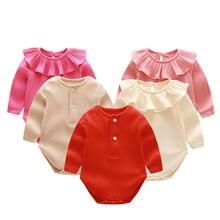 ddf138ed86 Macacão de bebê Nova Primavera Meninas Do Bebê gêmeos Roupas Botão Sólidos  Crianças Roupas de inverno