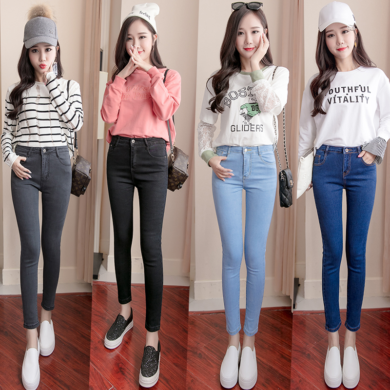 Плюс Размеры Высокая талия стрейч промывают Джинсы для женщин женские джинсовые штаны Мотобрюки для Для женщин Карандаш обтягивающие джинсы Свет темно синий серый черный