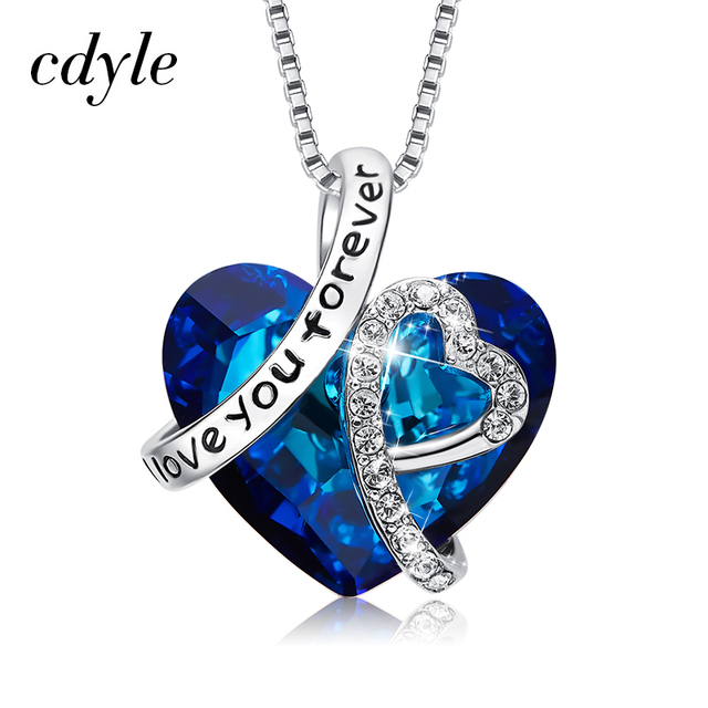 Cdyle Love You Forever Necklace Crystals from Swarovski Valentine's Day Gift For Women Charm Blue Crystal Necklaces & Pendants