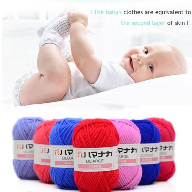 El bebé infantil algodón de algodón hilo de tejer lana gruesa tejida ...