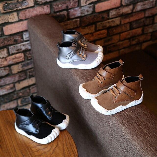 2016 Осень мальчики девочки Мартин сапоги kids fashion Резиновые сапоги дети кроссовки Новые мальчики Собака Ног обувь chaussure enfant
