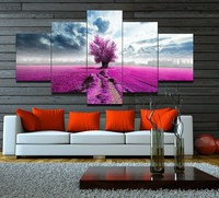 5 Piecesset Pink Lavender Flowers Landscape Modular Pictures Prints Canvas Printed Pictures For Home Decor Frameless